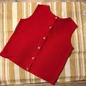 Red knit sleeveless button up top
